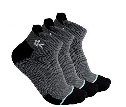 Mens Running Socks -Work Athletic Blister Resistant Moisture Wicking Quarter Socks for Men Boys Youth - 3 Pairs (large)