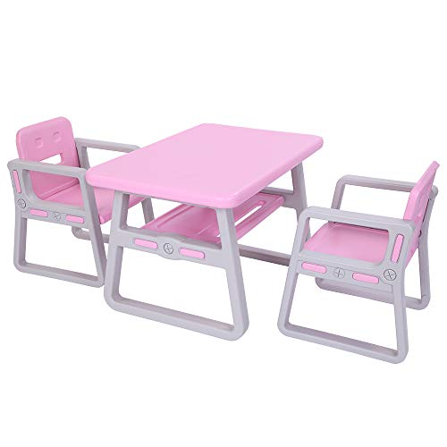 Vktech Kids Table and Chairs Set, Toddler Activity Chair Best for Toddlers Lego, Reading, Train, Art Play-Room, Little Kid Children Furniture Accessories, Plastic Des (Pink)