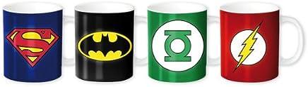 Preisvergleich für Merchandiseonline DC Comics Superhelden–Keramik Espresso Tasse/Mug Set (Superman, Batman, Green Lantern & Flash Logos/Rangabzeichen)