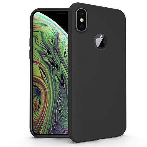 N NEWTOP Funda compatible para Apple iPhone XS, funda TPU Soft Gel Silicona Ultra Slim Flexible Case Trasera Protectora (Negro)