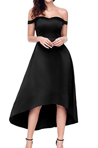 AlvaQ Elegant Off Shoulder Hilo Evening Semi Dresses for Women Formal Knee Length Midi Party Dresses Cocktail Black