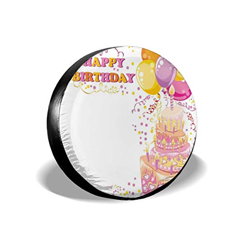 Usicapwear Tire Cover Band Cover Wiel Covers, Viering Meisje Themed Party Cake Kaarsen Ballonnen Hartjes Beeldafdruk, voor SUV Truck Camper Travel Trailer Accessoires 15 inch