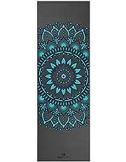 Yoga Studio Designad yogamatta – 183 cm x 61 cm mandala matta, 6 mm halkfri yogamatta, rivsäker PVC-matta