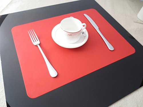 Tischset Platzset Clest F&H Silikon Sets Rote Platzmatte gewebt aus Kunststoff 45x30 cm(2er Set)