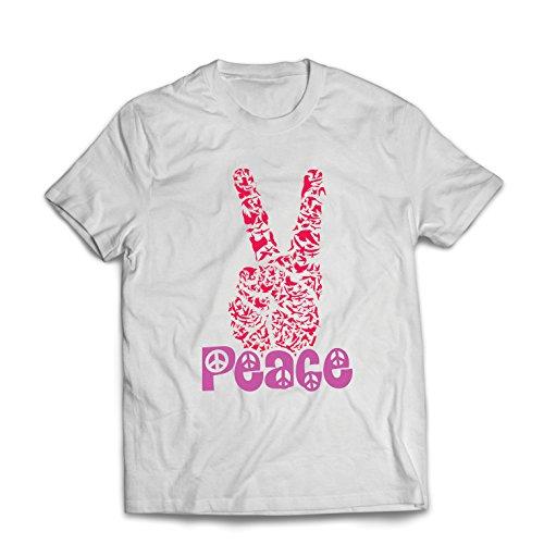 lepni.me Camisetas Hombre Símbolo del Hippie Peace Festival, década de 1960 de los 70, Muestra de Fiesta Maravillosa (Medium Blanco Multicolor)