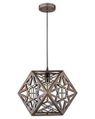 【Geometric Aesthetic Design】Modern aesthetic design provides style and grace. Metal shade with a unique geometric design, with oil rubbed bronze finish, create a warm ambiance to Bar Area, Cafe, Kitchen Island, Dining Room, Living Room 【Adjustable He...