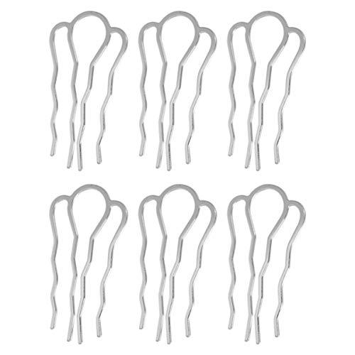 Minkissy 6pcs baguettes épingles à cheveux en métal baguettes cheveux vintage chignons pour cheveux longs (argent)