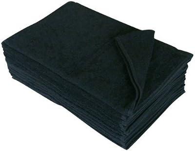 250匁 フェイスタオル 12枚セット 無地 業務用タオル (ブラック 黒)