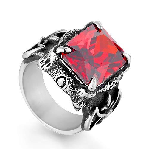 Mailizhong Anillo De Piedras Preciosas De Acero Titanium Vintage Guerrero Vikingo Anillos De Honor Rojo,Talla 27