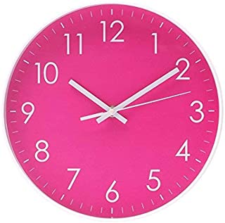 Filly Wink Simple Wall Clock Sweep Second Hand Non Ticking Battery Operated Easy to Read Decor Kitchen,Bathroom,Office 10 Inch Hot Pink