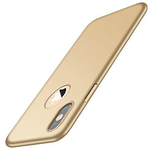 Cover iPhone X, Cover iPhone 10, Custodia Ultra Sottile Anti-Graffio e Resistente alle Im pronte Digitali Caso della Copertura Protettiva in Plastica Difficile per iPhone X iPhone 10 (Oro)
