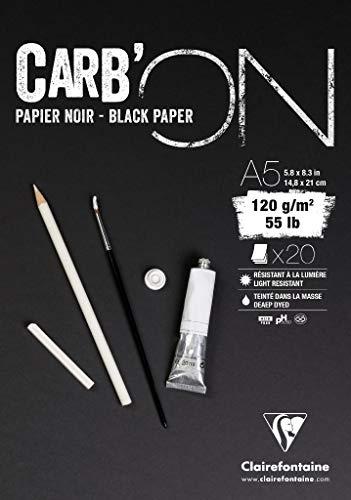 Clairefontaine 975038C Zeichenblock Carb´On (120 g, ideal für Trockentechniken, DIN A5, 14,8 x 31 cm, geleimt, 20 Blatt) schwarz