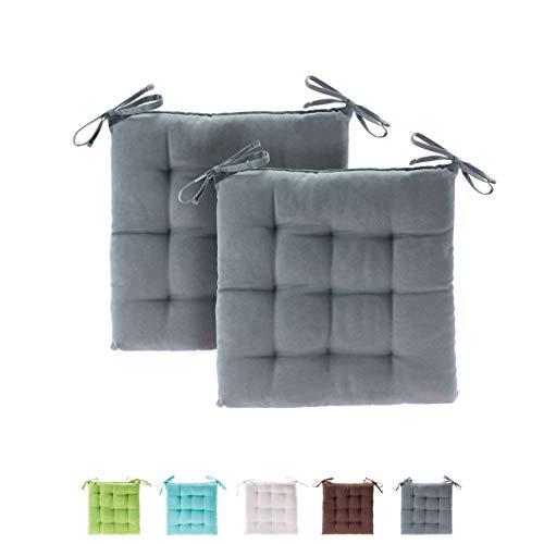 etérea Basic Sitzkissen, Stuhlkissen mit Bändern - für Innen- und Außenbereich geeignet, Sitzpolster Auflage für Haus und Garten - 2er Set - 40x40 cm, Grau
