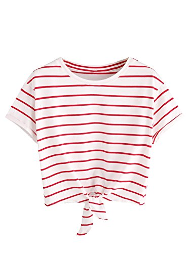 ROMWE Women's Knot Front Long Sleeve Striped Crop Top Tee T-shirt, White & Red, Small(US 0-2)