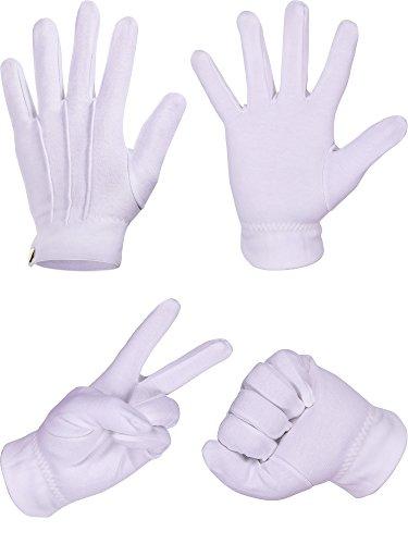 Weiße Genähte Baumwoll Handschuhe für Formale Smoking Schmuck Inspektion, 2 Paare