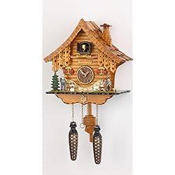German Cuckoo Clock Quartz-movement Chalet-Style 10.24 inch - Authentic black forest cuckoo clock by Trenkle Uhren