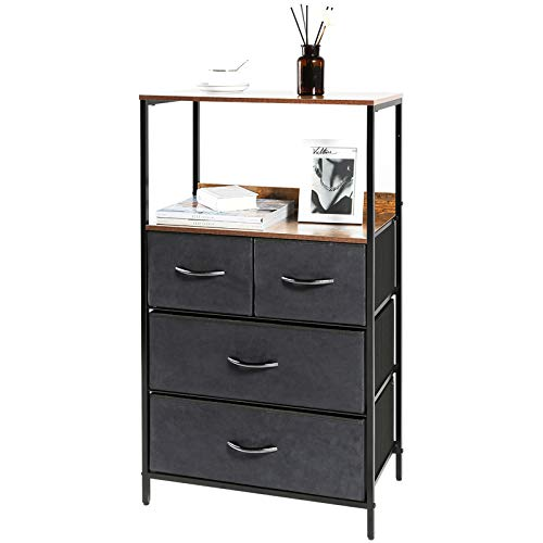 Kamiler Rustic 4 Drawers Dresser with Shelves, Closet Storage Organizer,Versatile Cabinet for Bedroom, Living Room, Hallway, Hotel,Sturdy Steel Frame, Wood Shelf,Removable Fabric Bins
