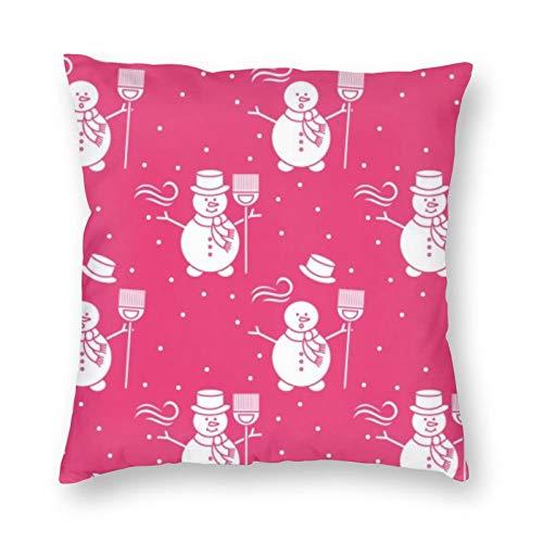 Cushion Cover Pattern Snowman Broom Hat Throw Pillowcaser with Hidden Zipper for Home Decor 45x45cm