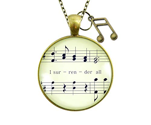 """Gutsy Goodness 24"""" I Surrender All Necklace Vintage Hymn Music Jewelry Note Charm"""