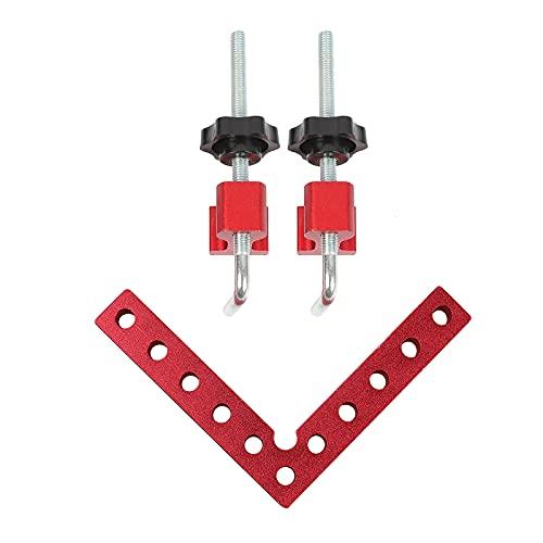 Nachar Abrazaderas de ángulo recto de 90 grados, 3 abrazaderas de esquina de aleación de aluminio, unidad métrica, herramienta de carpintería para cuadros de fotos, 100 mm, rojo