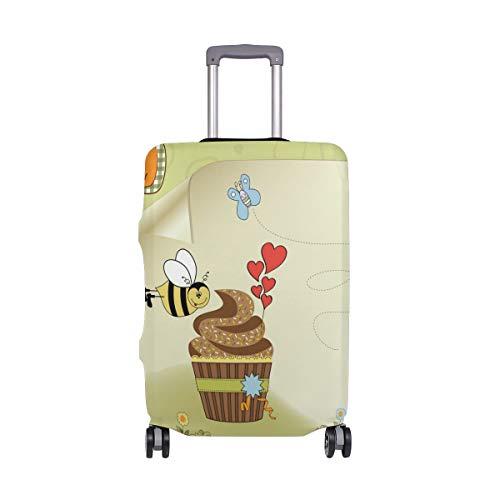 ALINLO Verjaardagskaart Bijen met Cake Bagage Cover Bagage koffer Travel Protector Fit voor 18-32 Inch