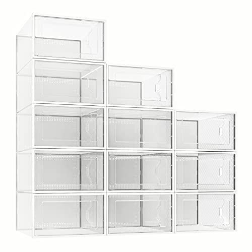 12 Pack Shoe Storage Box Clear Plastic Stackable Shoe Organizer for Closet Space Saving X-Large Foldable Shoe Containers Bins Holders Fit up to Size 14 Clear