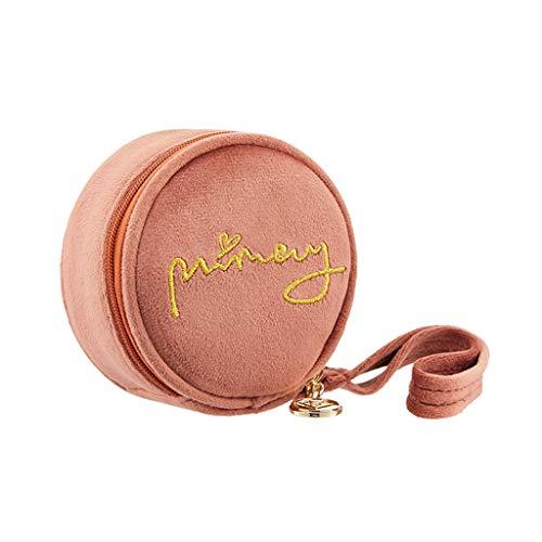 Kiki Ronde brodé cosmétique Sac Multifonction Maquillage Voyage Sacs de Toilette Organisateur Solide Couleur Femme de Stockage Make Up Case (Color : Orange)