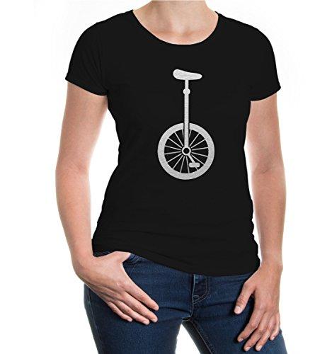 buXsbaum® Damen Kurzarm Girlie T-Shirt Bedruckt Einrad-Silhouette | Kunstradfahren Zirkus Artist | XS, Schwarz