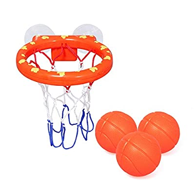 zoordo Bath Toys Bathtub Basketball Hoop Balls Set for Toddlers Kids with Strong Suction Cup Easy to Install,Fun Games Gifts in Bathroom,3 Balls Included ( Only Stick on Smooth Surface )