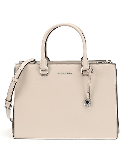 """Roomy leather satchel crafted in a minimalist design Double top handles Adjustable shoulder strap, 18""""-21"""" drop Top snap closure Rhodium plated hardware Three main compartments Two inside zip pocket One inside key clip Two inside slip pockets Lined 1..."""