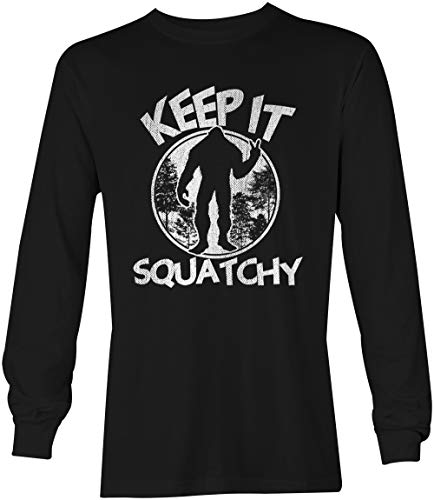 Tcombo Keep It Squatchy - Bigfoot Sasquatch Unisex Long Sleeve Shirt (Black, Large)