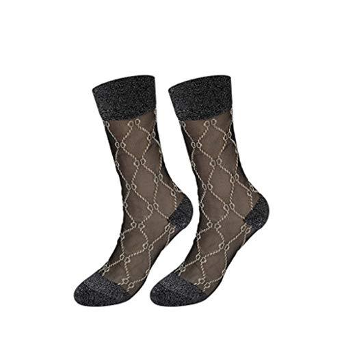 ZHJ Ultradünne transparente Schwarze Glas Karte Strümpfe Weibliche Schlauch-Socken Silber Zwiebel Kristall-Seiden-Socken D Brief Retro Gold-und Silber-Strümpfe Socken (Color : E)