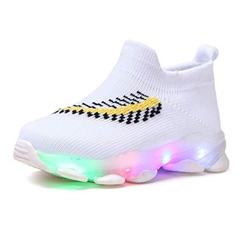 Kinder Federn LED Socken Schuhe fliegen gewebt Netzoberfläche Beleuchtung Laufschuhe Freizeitschuhe (27 EU, Weiß)