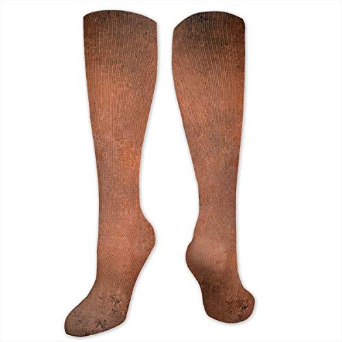 Sunny R Martillado abstracto cobre quemado sucio color antiguo desordenado impreso calcetines de compresión largo atlético casual medias