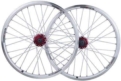 YZU Juego de ruedas para bicicleta BMX de 20 pulgadas, rueda de doble capa, llanta de aleación, freno V, liberación rápida, 7, 8, 9, 10 velocidades, 32 H, color blanco, 20 pulgadas
