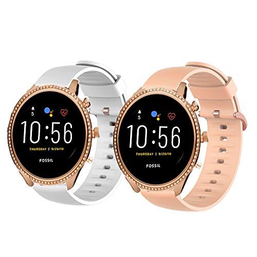 LvBu Armband Kompatibel Für Fossil Julianna HR, Sport Silikon Classic Ersatz Uhrenarmband Für Fossil Gen 5 Julianna HR (2 Pack-b)