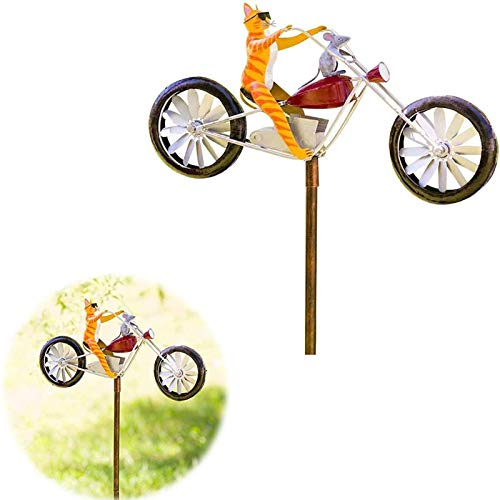 AGYIFZSM Vintage Bicycle Metal Wind Spinner Handmade Bicycling Frogs Statue Garden for Sculpture Yard Lawn Decoration Frog Vintage Bicycle Metal Wind Spinner Cute Animal (Cat)