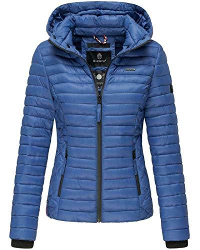 Marikoo Damen Jacke Steppjacke Übergangsjacke mit Kapuze gesteppt B600 [B600-Samt-Royalblau-Gr.M]