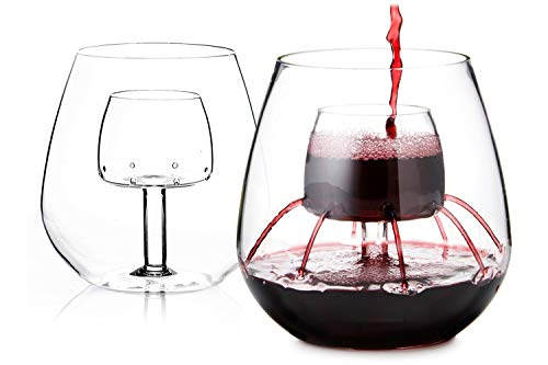 Stemless Aerating Wine Glasses by Chevalier Collection (Set of 2) - Wine...