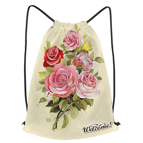 fudin Impermeable Bolsa de Cuerdas Saco de Gimnasio Tarjeta de felicitación de invitación vintage rosas florecientes Deporte Mochila para Playa Viaje Natación