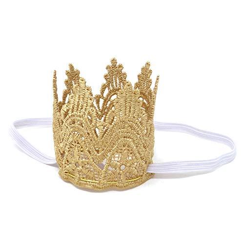 Honbay Vintage Gold Baby Girl Lace Crown Headband, Baby Princess Tiara Crown, First Birthday Hat, Newborn Crown Photo Prop