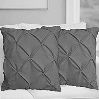 White House Dark Grey Pinch Pleated Pintuck Pillow Shams Set of 2 - Luxury 680 Thread Count 100% Egyptian Cotton Decorative Pillow Cover Pintuck King Pillow Sham (2 Pack, King 20'' x 40'')