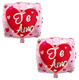 """2PK """"Te Amo"""" - 18"""" Pink Square Red Heart Foil Mylar Balloon   For Anniversary, Valentine's Day, Wedding Proposals, Secret Admirer, Thinking of You, Birthday, New Baby, & Just Because Occasions   Party Decorations & Supplies   Satin Floral Pink Spanish Balloon"""