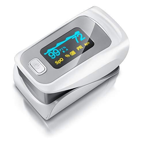 Medicinalis - Pulsoximeter Finger - SpO2 Pulsmesser – Fingerpulsoximeter - Messung von Puls und Sauerstoffsättigung am Finger – LED Display - Batterieanzeige – Alarm – One Touch Bedienung