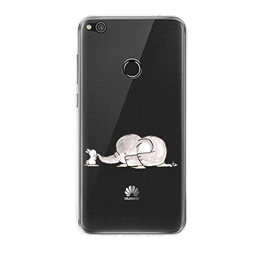 Huawei P8 Lite 2017 Case, Huawei P8 Lite 2017 Funda de silicona transparente con simpáticos animales, antideslizante, suave y antiarañazos, protección de TPU para Huawei P8 Lite 2017 Elefante 1