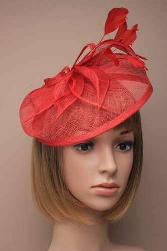 Beautiful Large Red Hatinator Hat with slanted band Bridal. Races, Ladies Day by fascinator/hatinator
