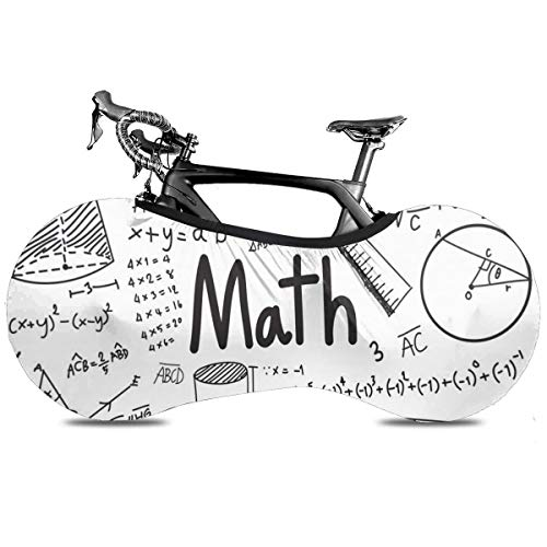 Mapa del mundo de la bandera portátil cubierta de bicicleta interior anti polvo alta elástica cubierta de rueda protectora de bicicleta Rip Stop neumático carretera mtb bolsa de almacenamiento, Teoría matemática ecuación de fórmula matemática, talla única