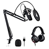 USB Microphone with Studio Headphone Set 192kHz/24 bit MAONO AU-A04H Vocal Condenser Cardioid Podcast Mic for Mac and Windows, YouTube, Gaming, Livestreaming, Voice Over