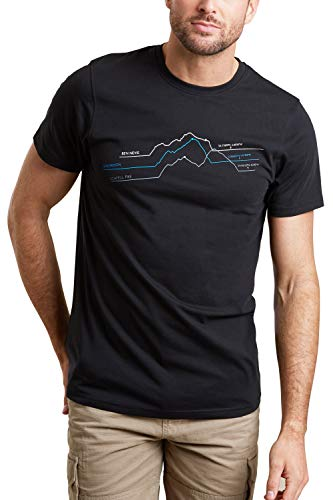 Mountain Warehouse 3 Peaks Graph Mens T-Shirt - Lightweight Tee, Breathable T-Shirt, Quality Print - Best for Outdoor, Sports, Camping & Hiking Black S