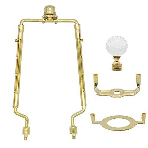 7 8 9 10 inch Lamp Shade Harp Holder,Adjustable Gold Lamp Harp Fits both E26 Light Base UNO Fitter Adapter and Saddle Base,Brass Color UNO Fitter Adapter Finial Set